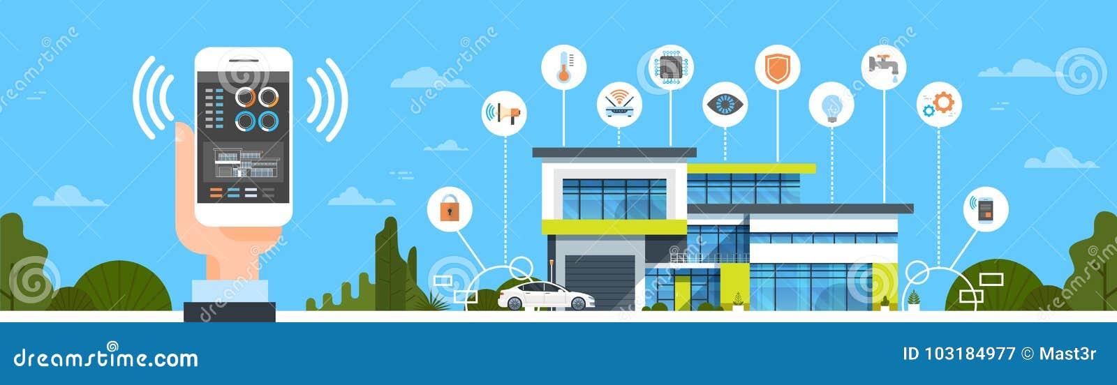 Mano que sostiene Smartphone con la bandera horizontal de sistema casero de control del interfaz de la casa del concepto moderno