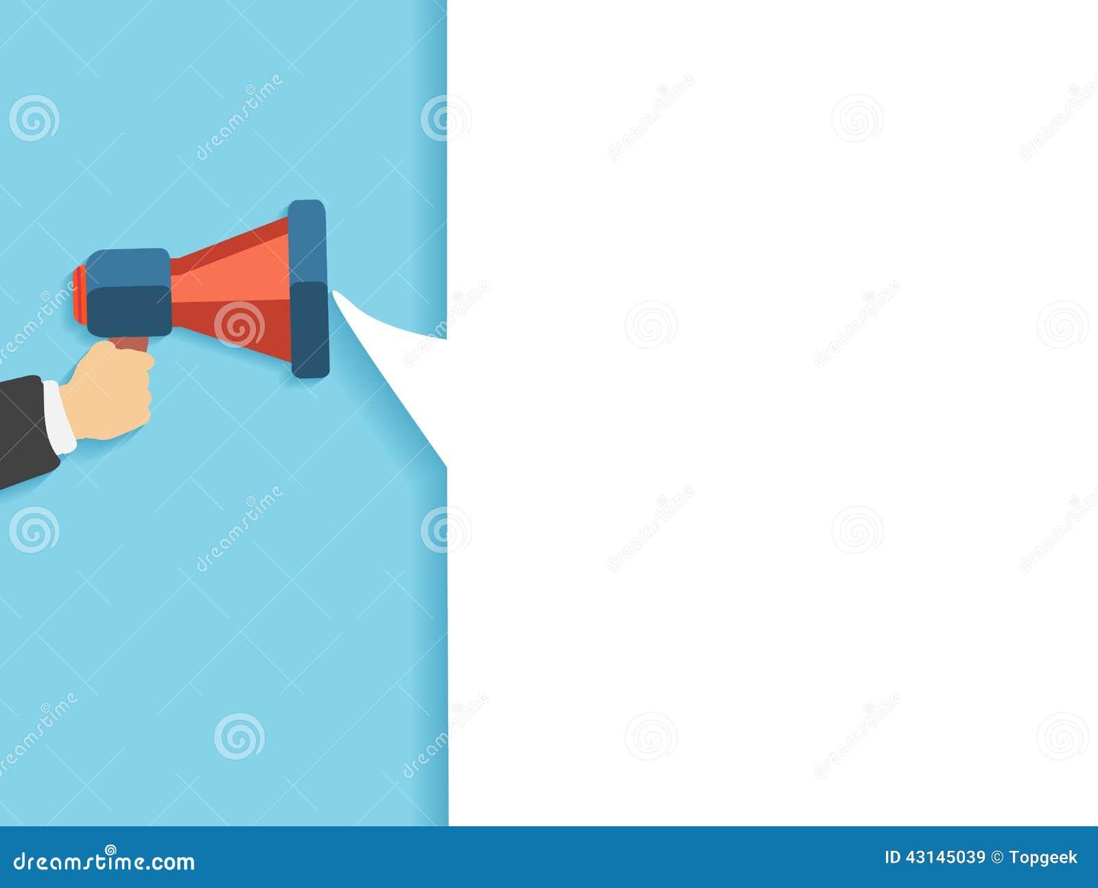 Mano que sostiene un megáfono rojo con la burbuja