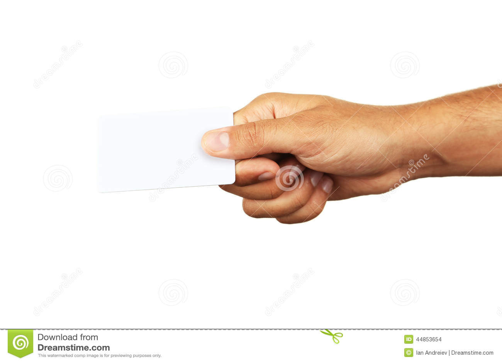 Mano que sostiene una tarjeta de visita