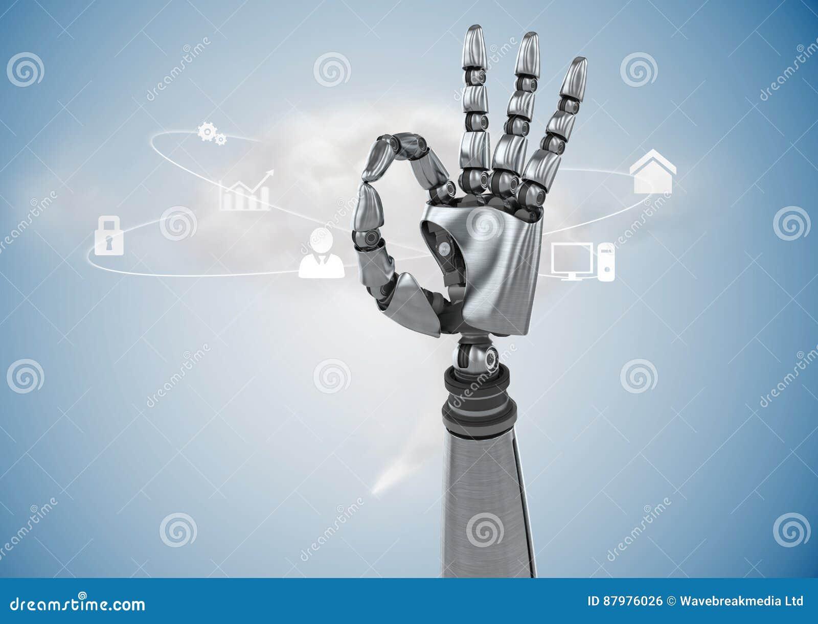 Mano robot che gesturing contro il fondo digitalmente generato