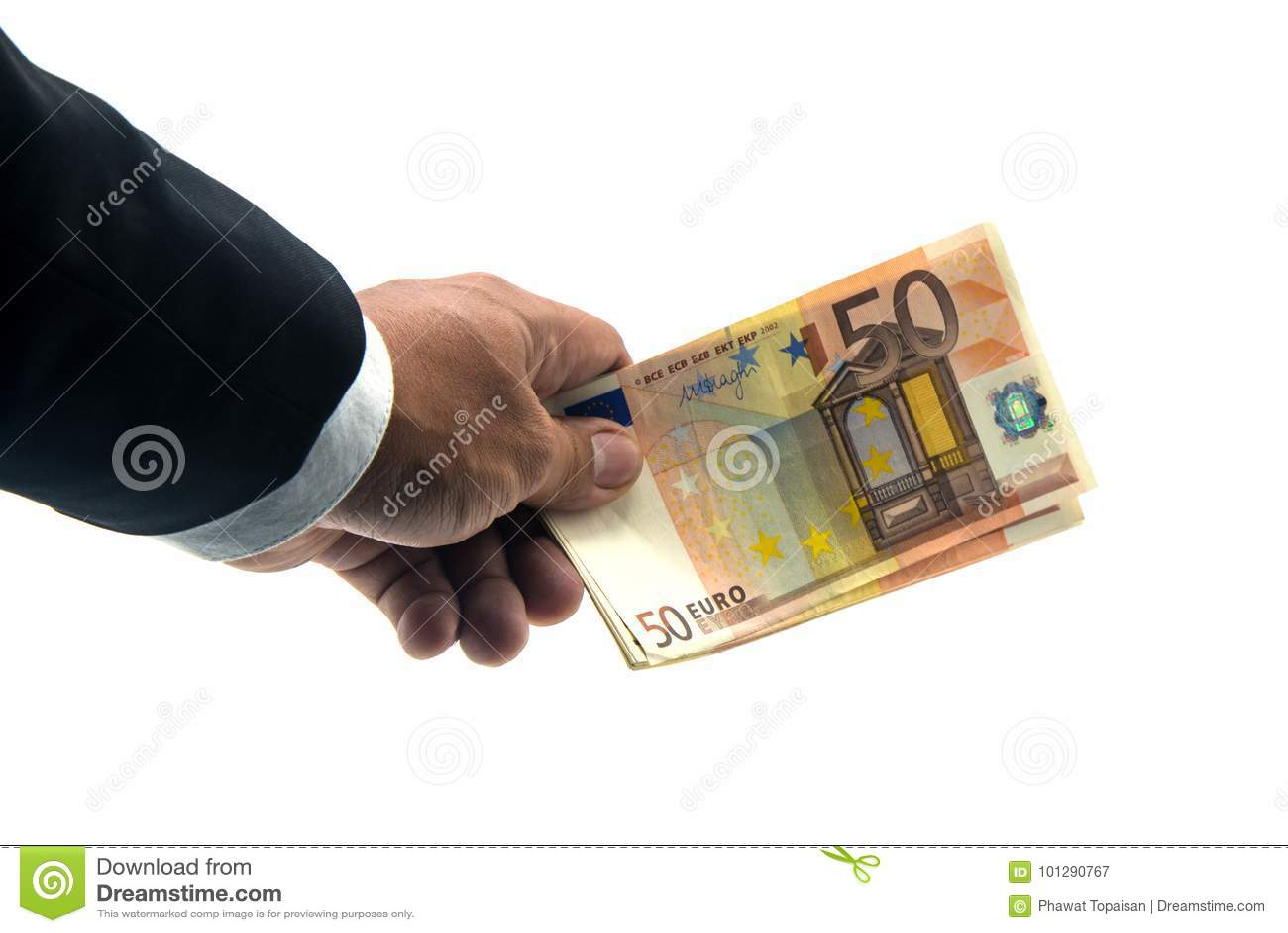 Mano soldi delle banconote della tenuta dell uomo d affari di euro isolati su fondo bianco