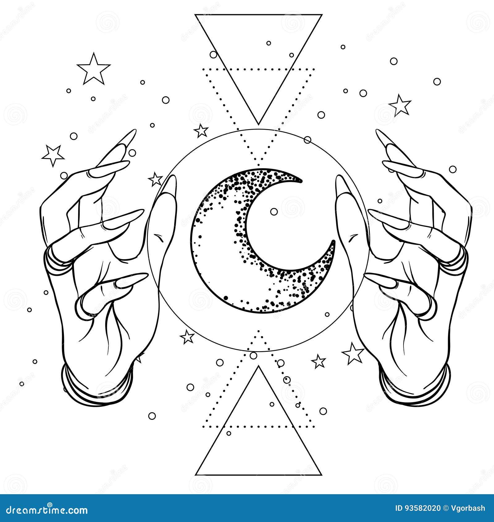 Mano umana con spazio ed i simboli sacri della geometria Tatto di Dotwork