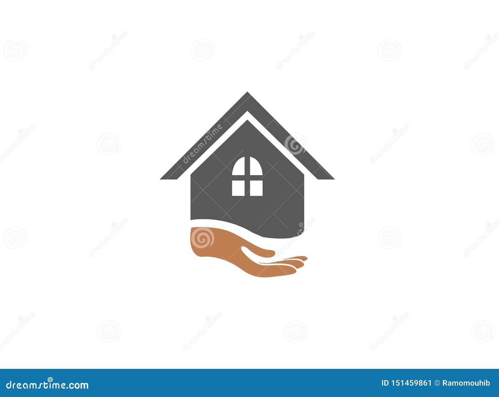 Mano y hogar para el ejemplo del diseño del logotipo