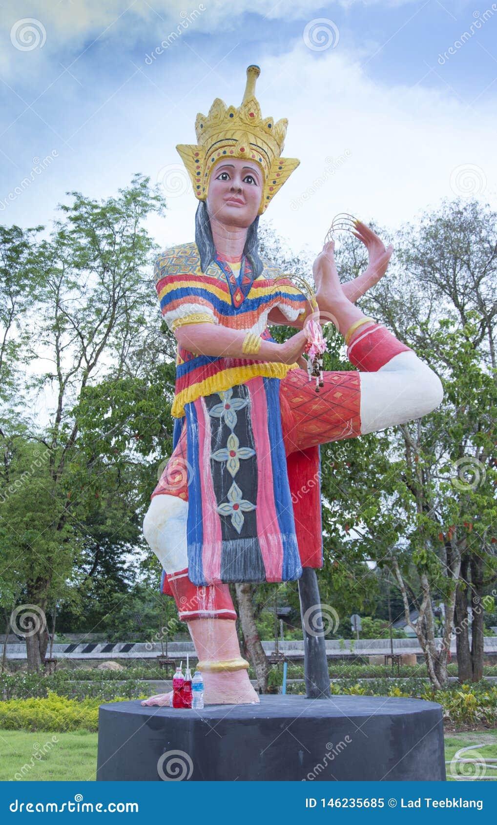 Manohra staty p? Phatthalung, Thailand