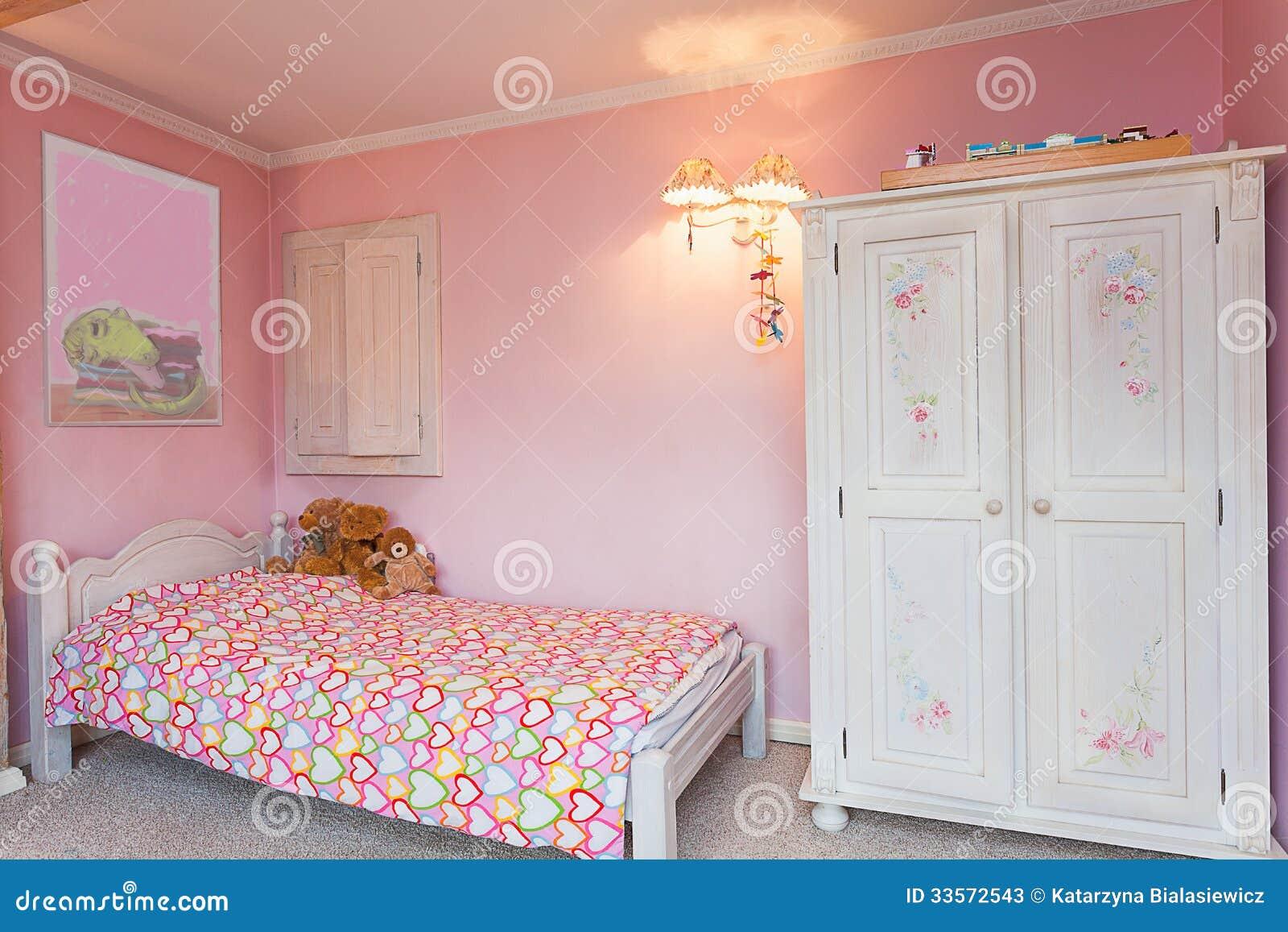 Manoir De Vintage - Chambre à Coucher Rose Image stock ...