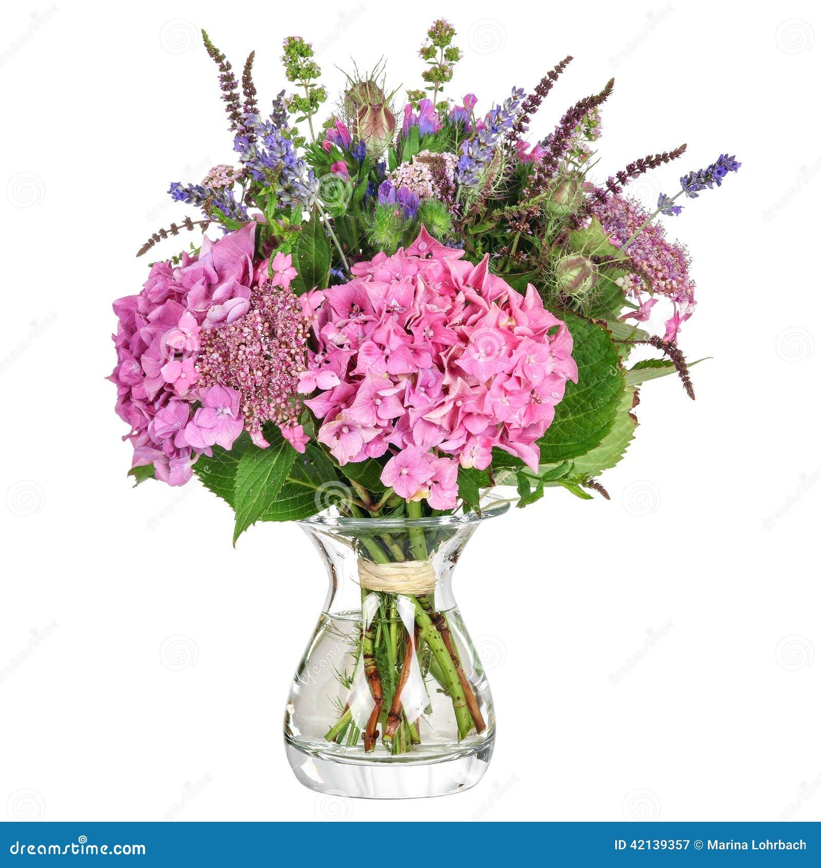 Fiori Con La S.Manojo De Flores Con La Hortensia Y Las Hierbas Imagen De Archivo