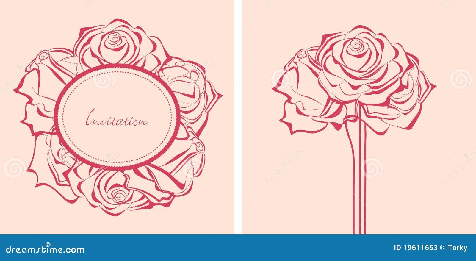 Manojo de invitaciones de las rosas