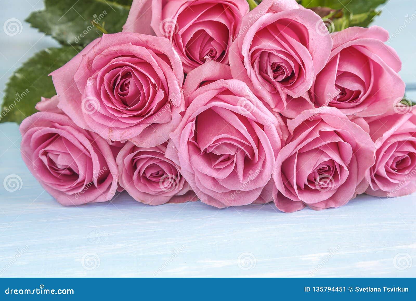 Manojo grande hermoso de flores color de rosa rosadas que mienten en el fondo ligero