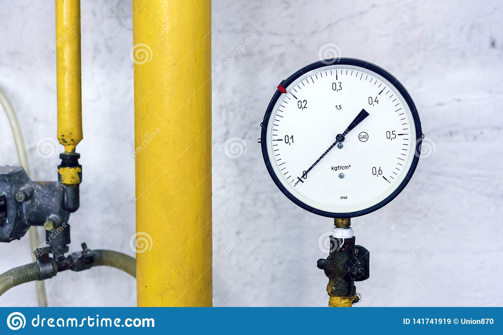The manometer at the gas-distributing station. Instrument for measuring gas pressure
