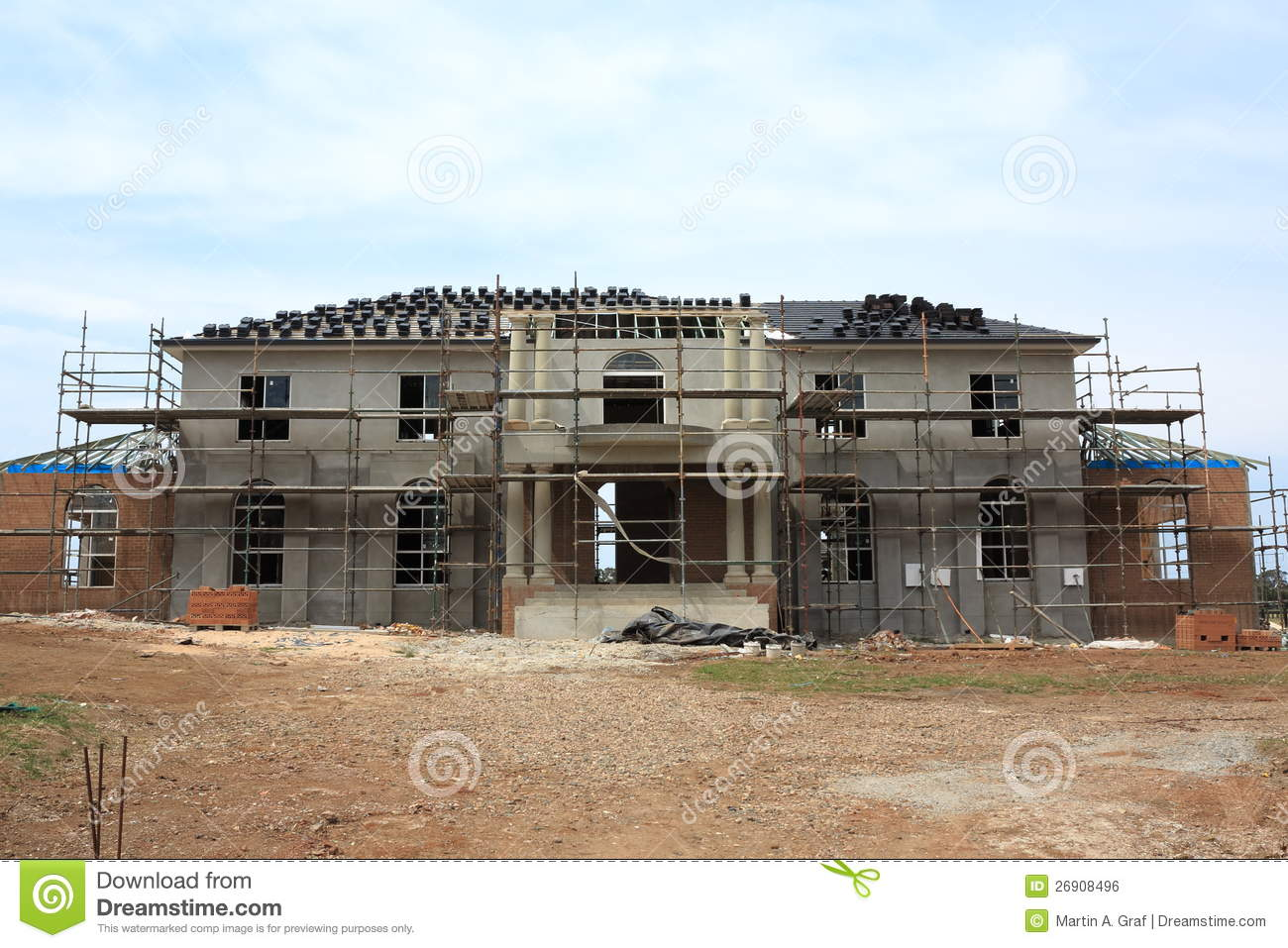 Manor house construction stock photo image of house for Build a house online free