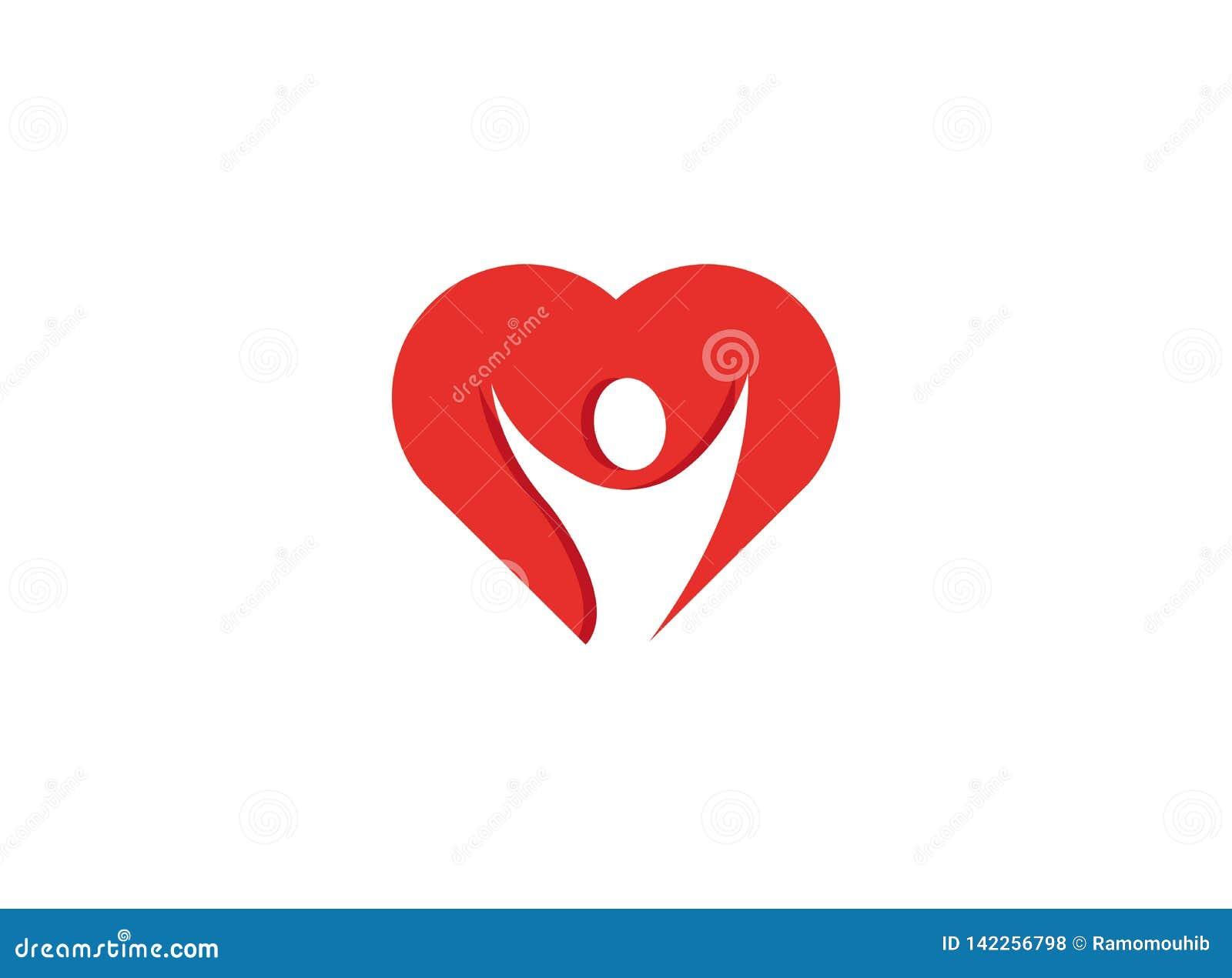 Manos abiertas de la persona sana dentro de un logotipo del corazón