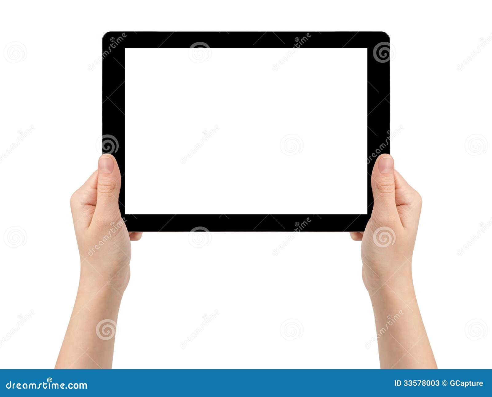 Manos adolescentes femeninas que sostienen la tableta genérica horizontal
