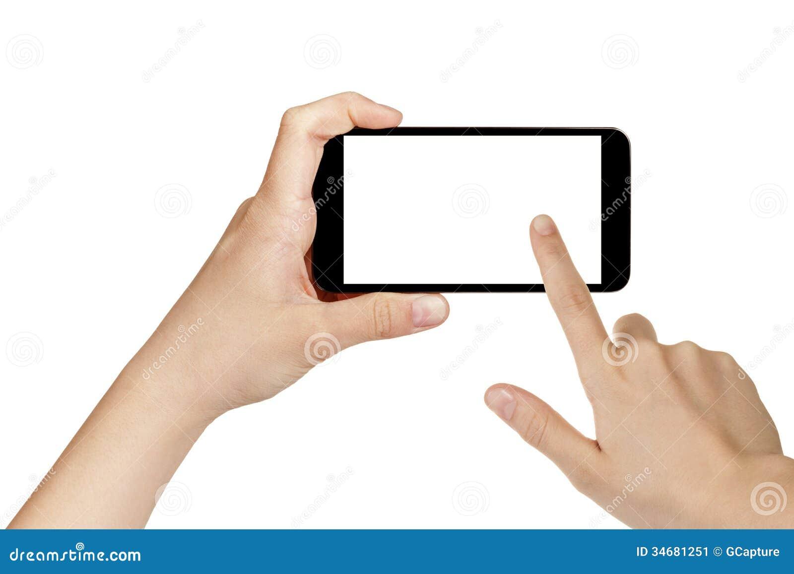 Manos adolescentes femeninas usando el teléfono móvil con la pantalla blanca