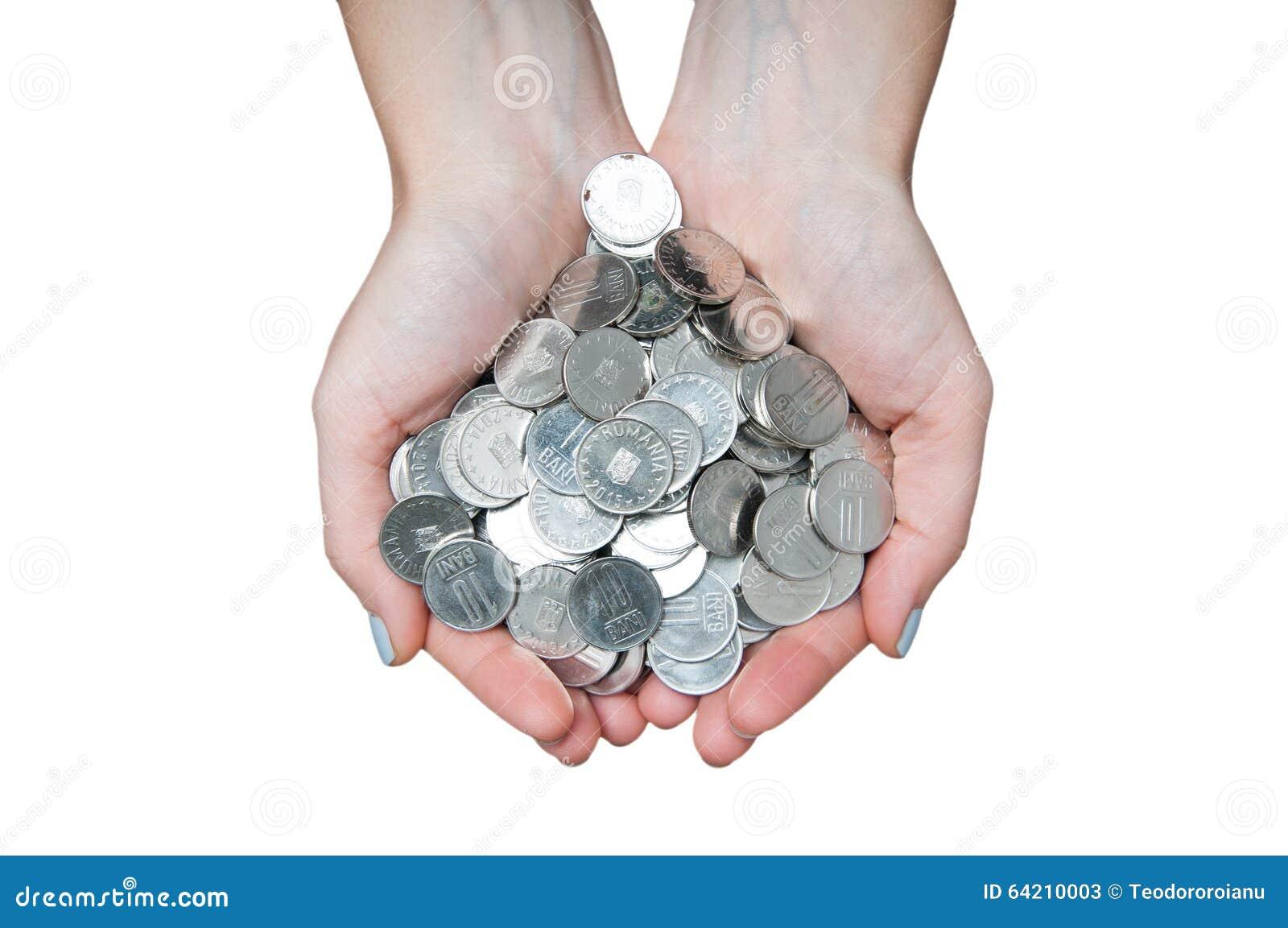 Manos completas del dinero