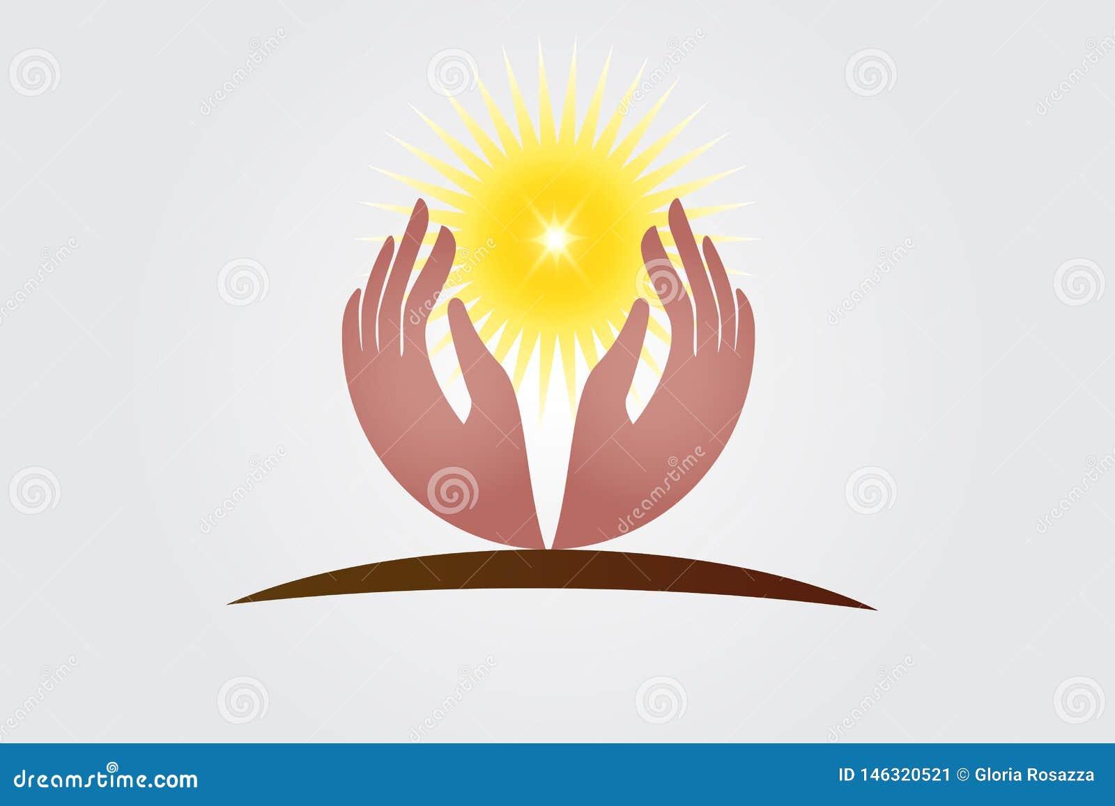 Manos de la esperanza y vector del logotipo de la luz del sol