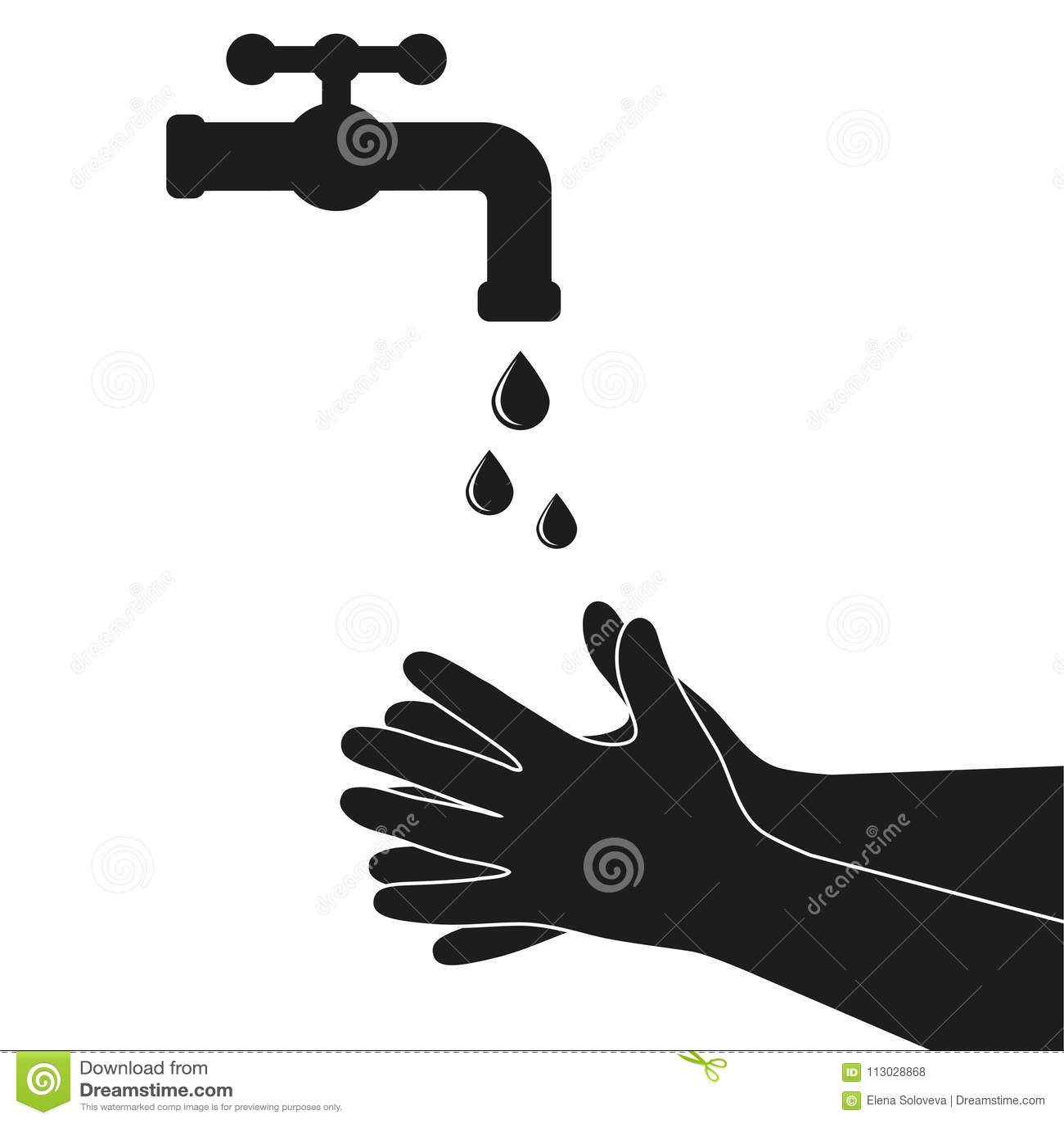 Manos debajo del agua que cae fuera del golpecito El hombre lava las manos, higiene