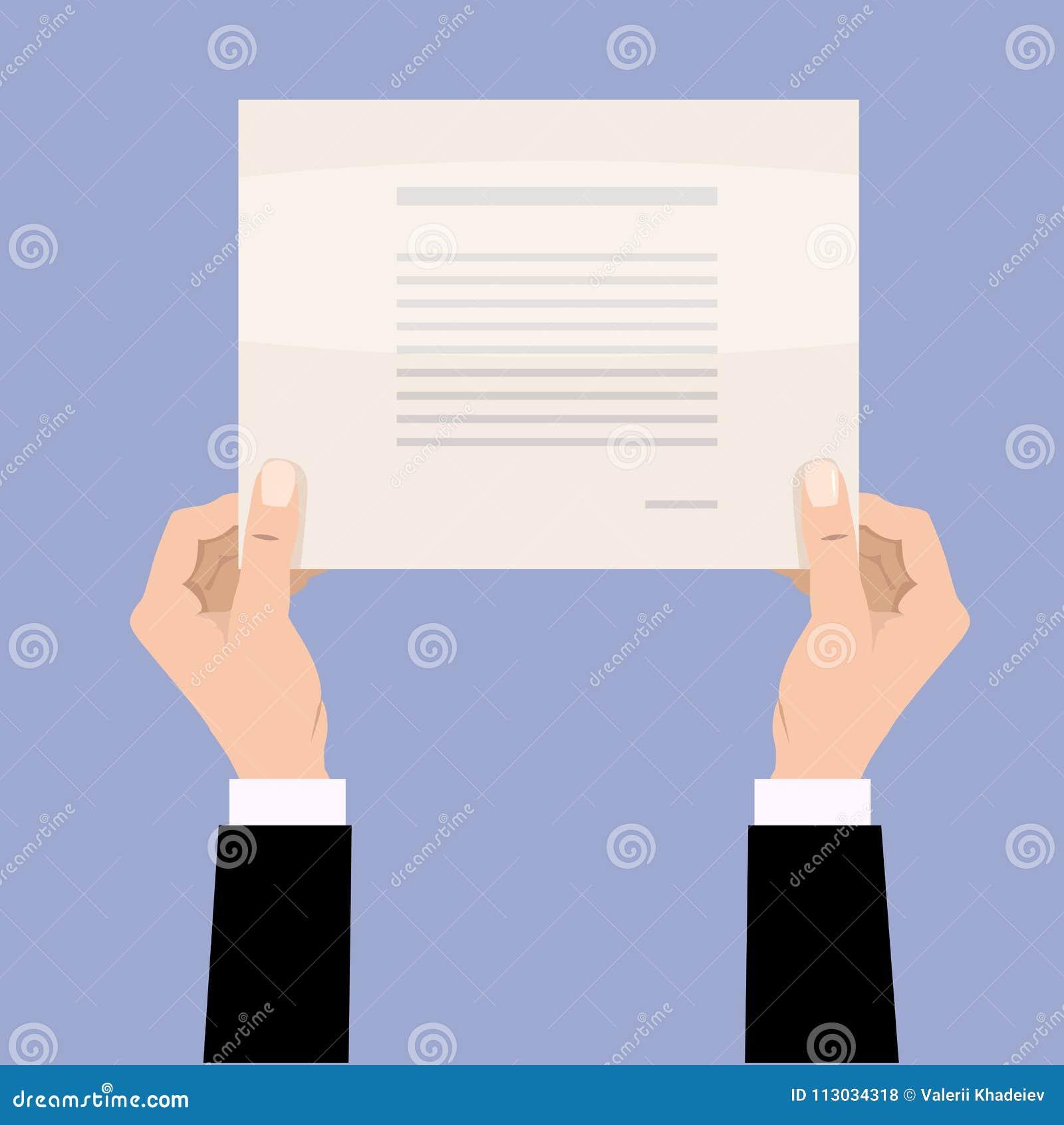 Manos del hombre de negocios de la historieta que sostienen el papel en blanco vacío Ejemplo del vector en diseño de la historiet