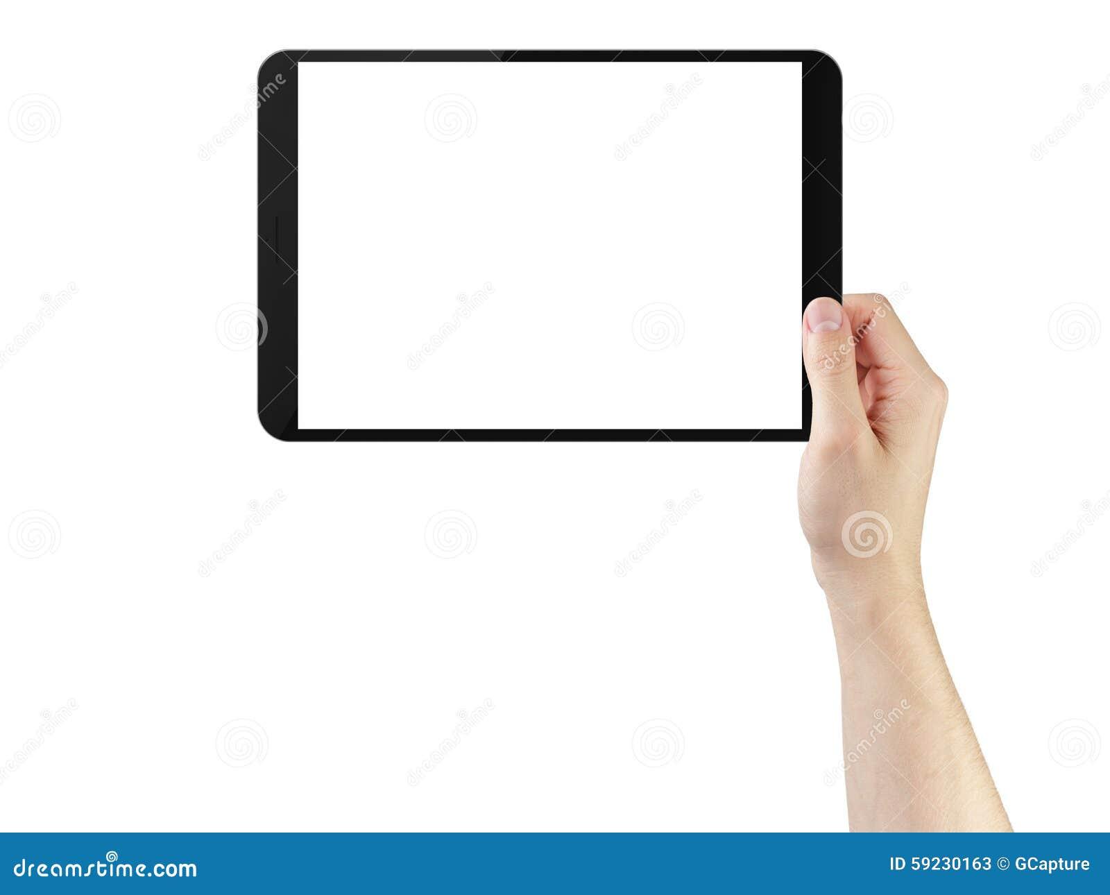 Manos del hombre joven usando la PC de la tableta con la pantalla en blanco