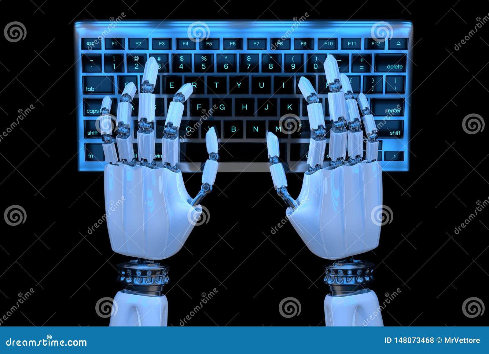 Manos del robot 3d que mecanografían en el teclado, telclado numérico Cyborg robótico de la mano que usa el ordenador 3D rinden e