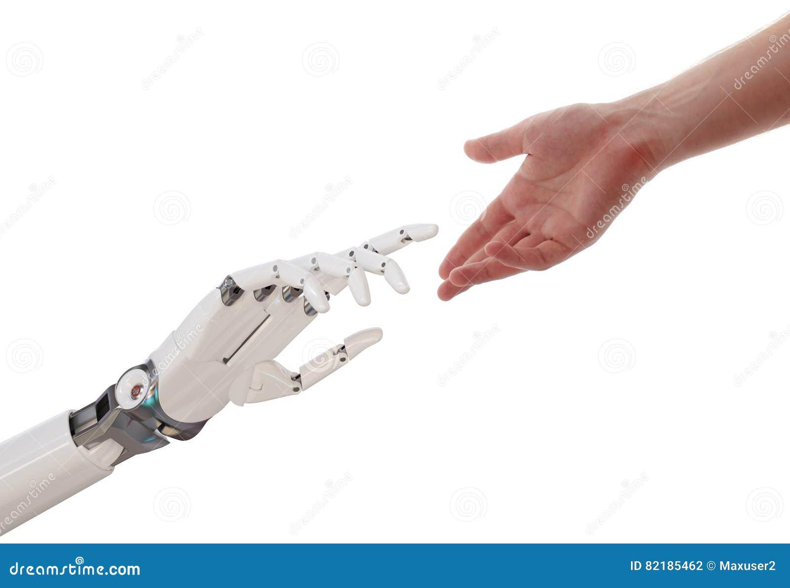 Manos del ser humano y del robot que alcanzan el ejemplo del concepto 3d de la inteligencia artificial