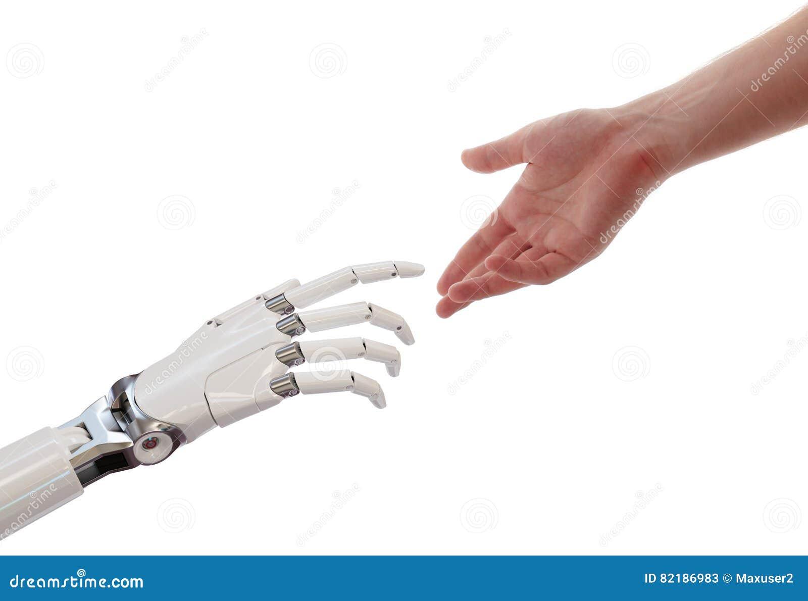 Manos del ser humano y del robot que alcanzan el ejemplo del concepto 3d de la sociedad de la inteligencia artificial