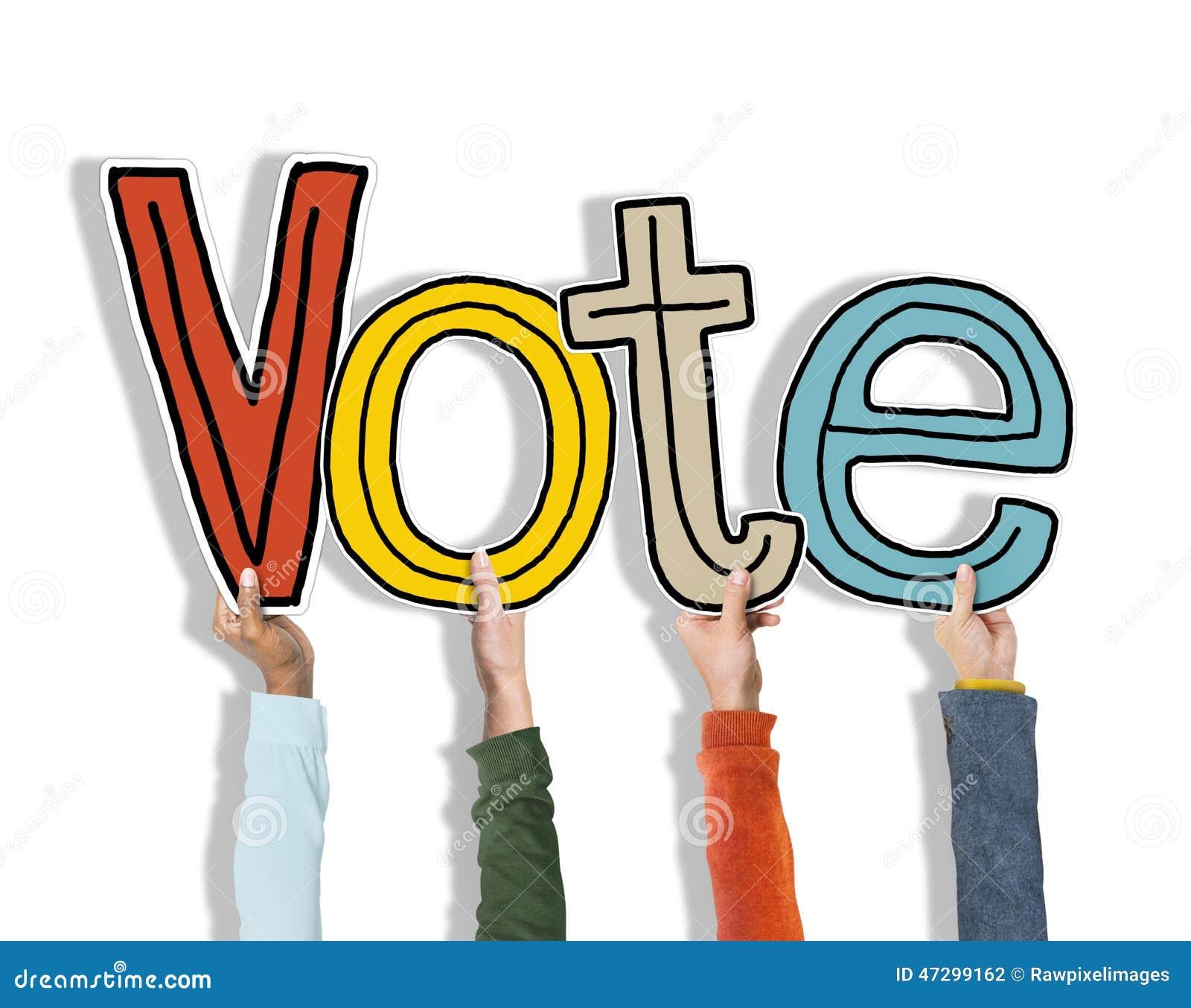 Manos diversas que llevan a cabo concepto del voto de la palabra