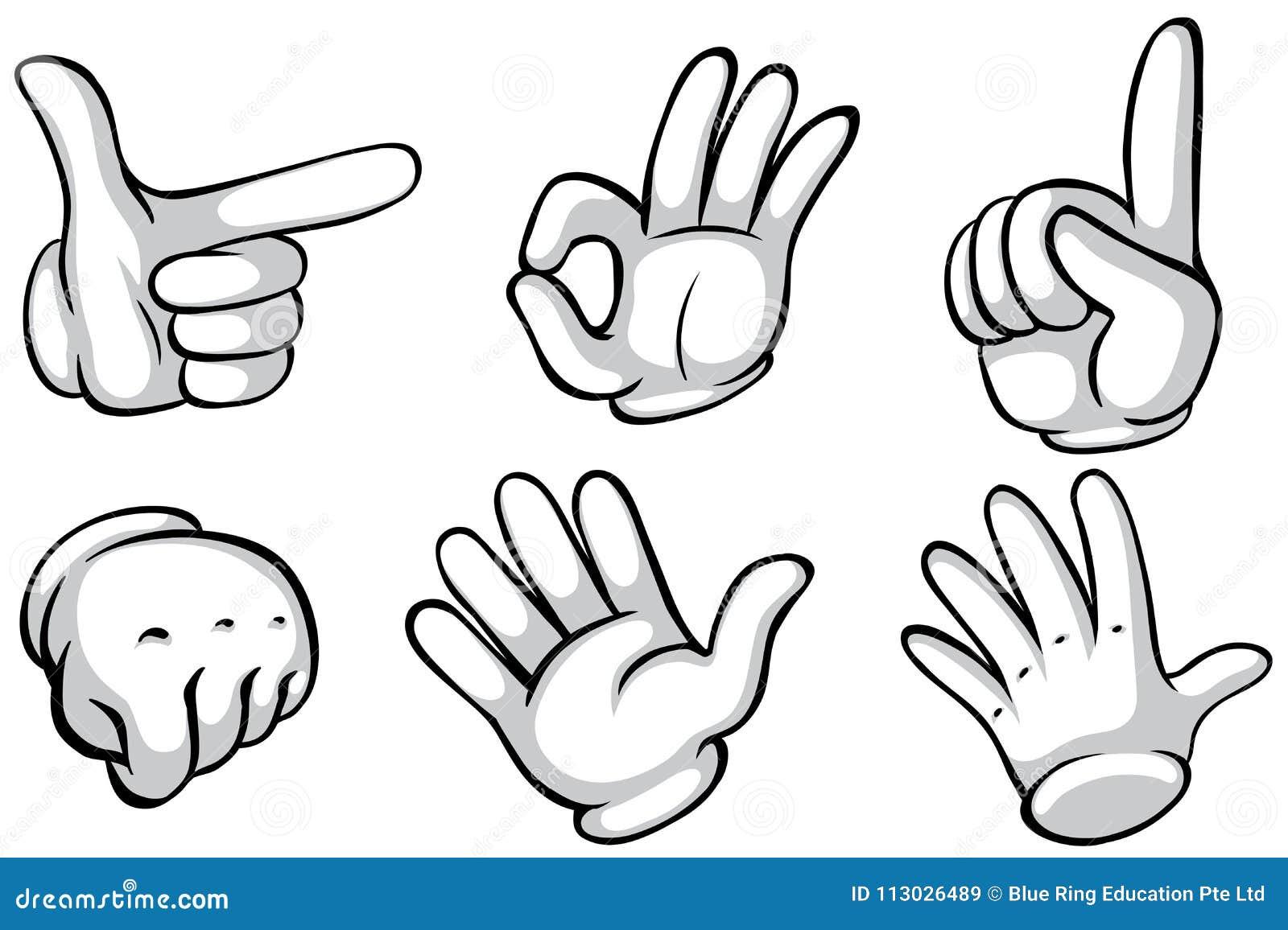 Manos en el guante blanco que hace seis acciones