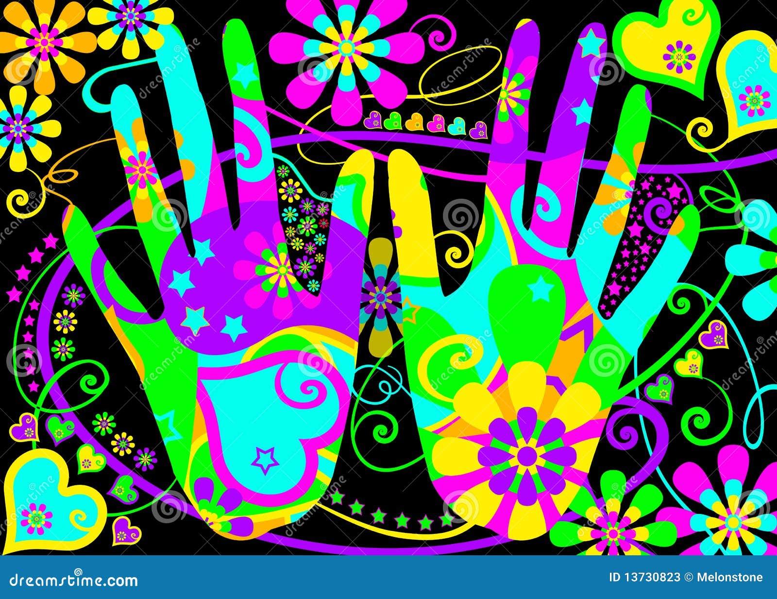 Manos estilizadas del Hippie