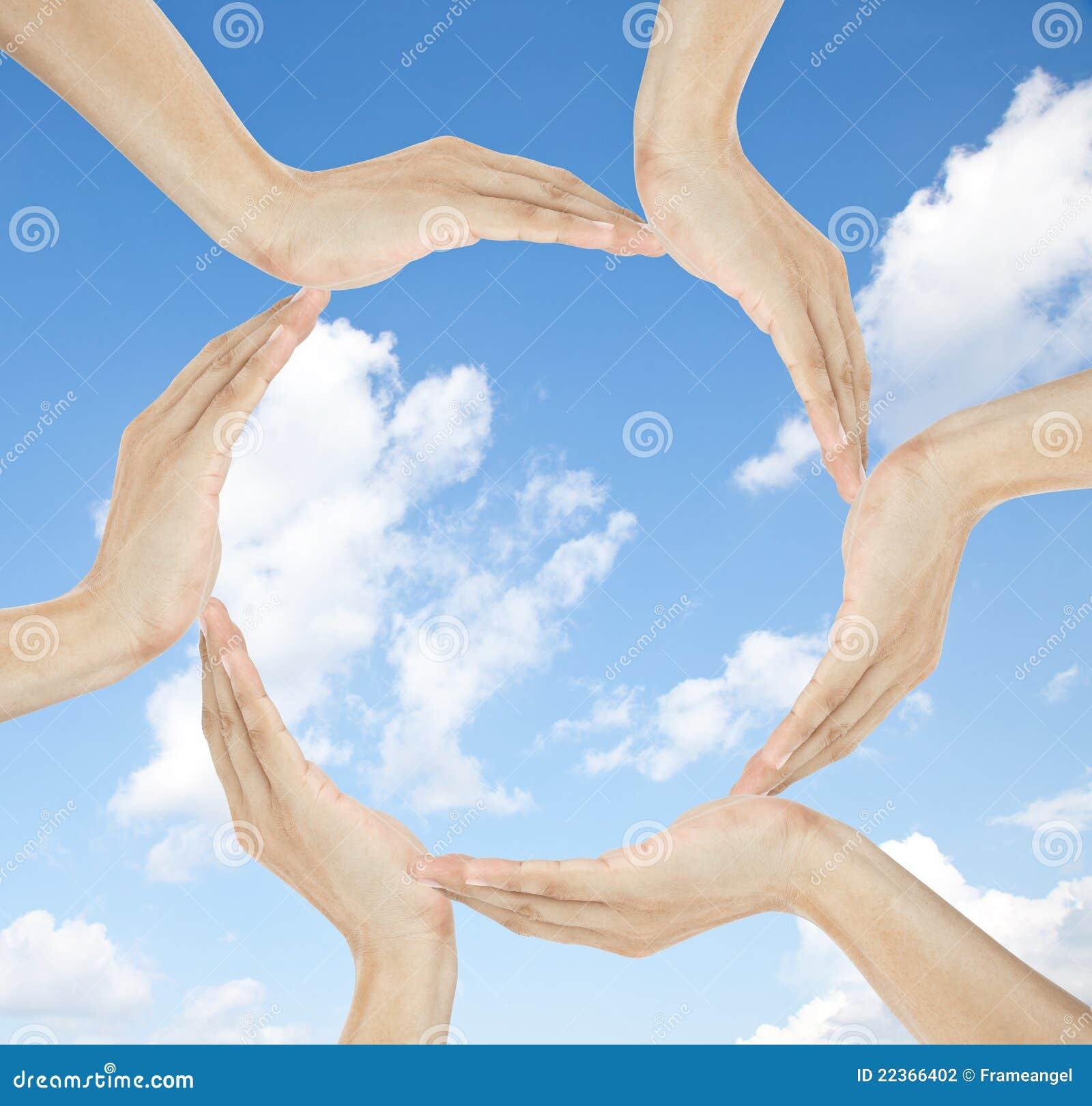 Manos humanas que hacen el círculo