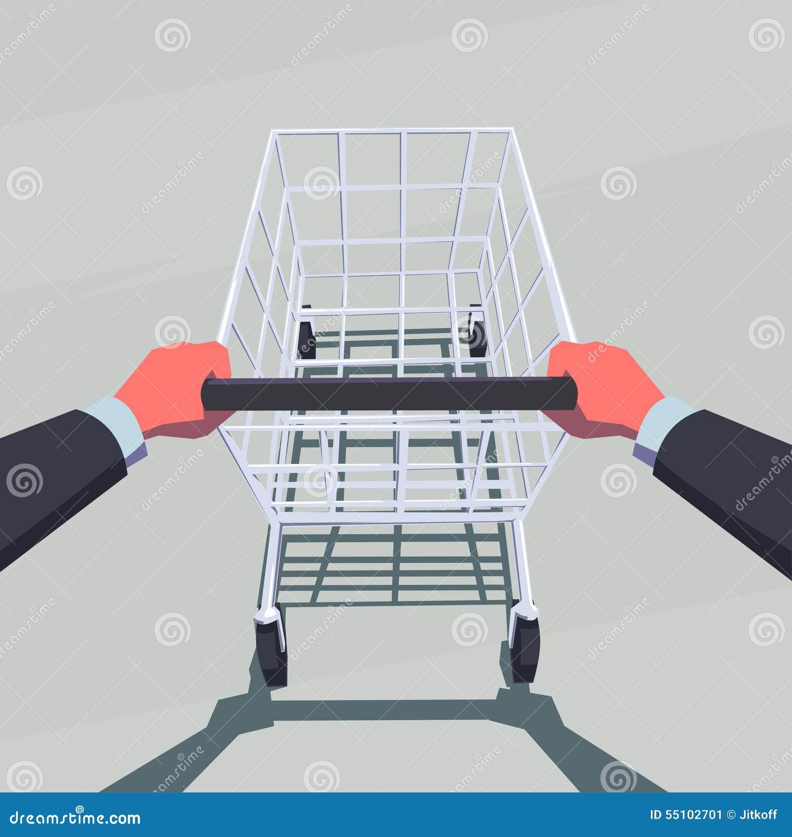 Manos masculinas que empujan el carro de la compra vacío