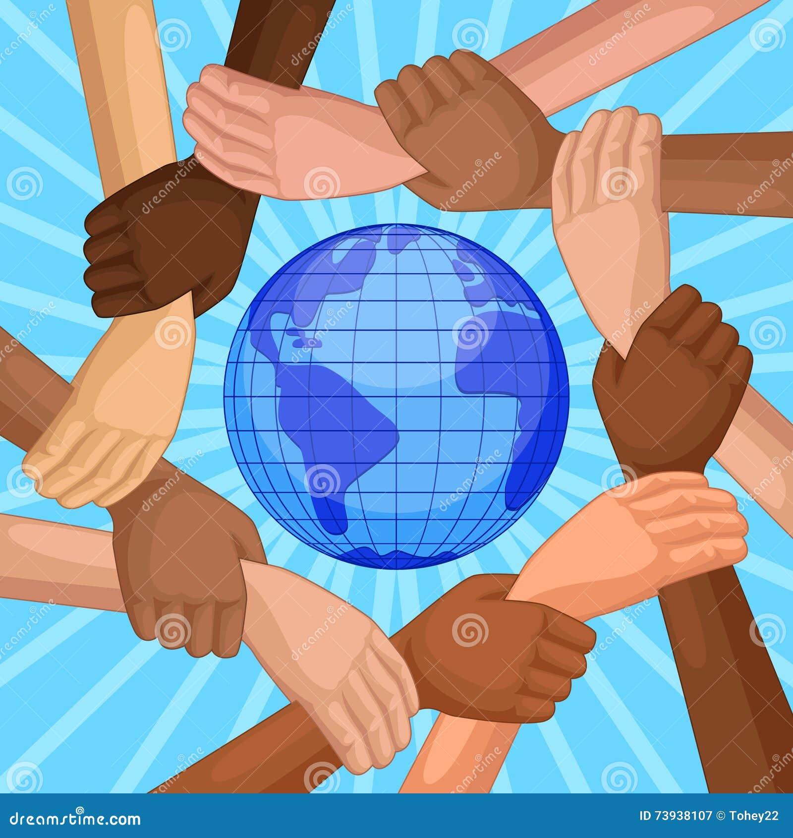 Manos multiculturales alrededor del globo