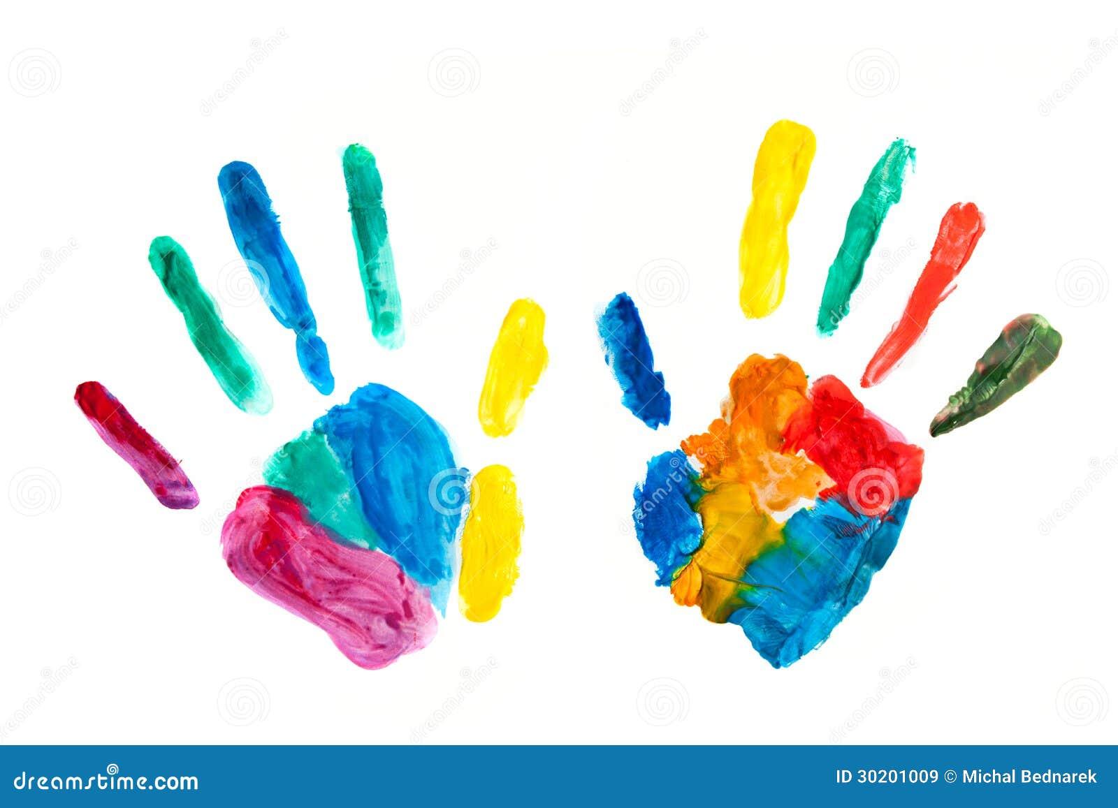 manos pintadas sellado en el papel diversi243n colorida