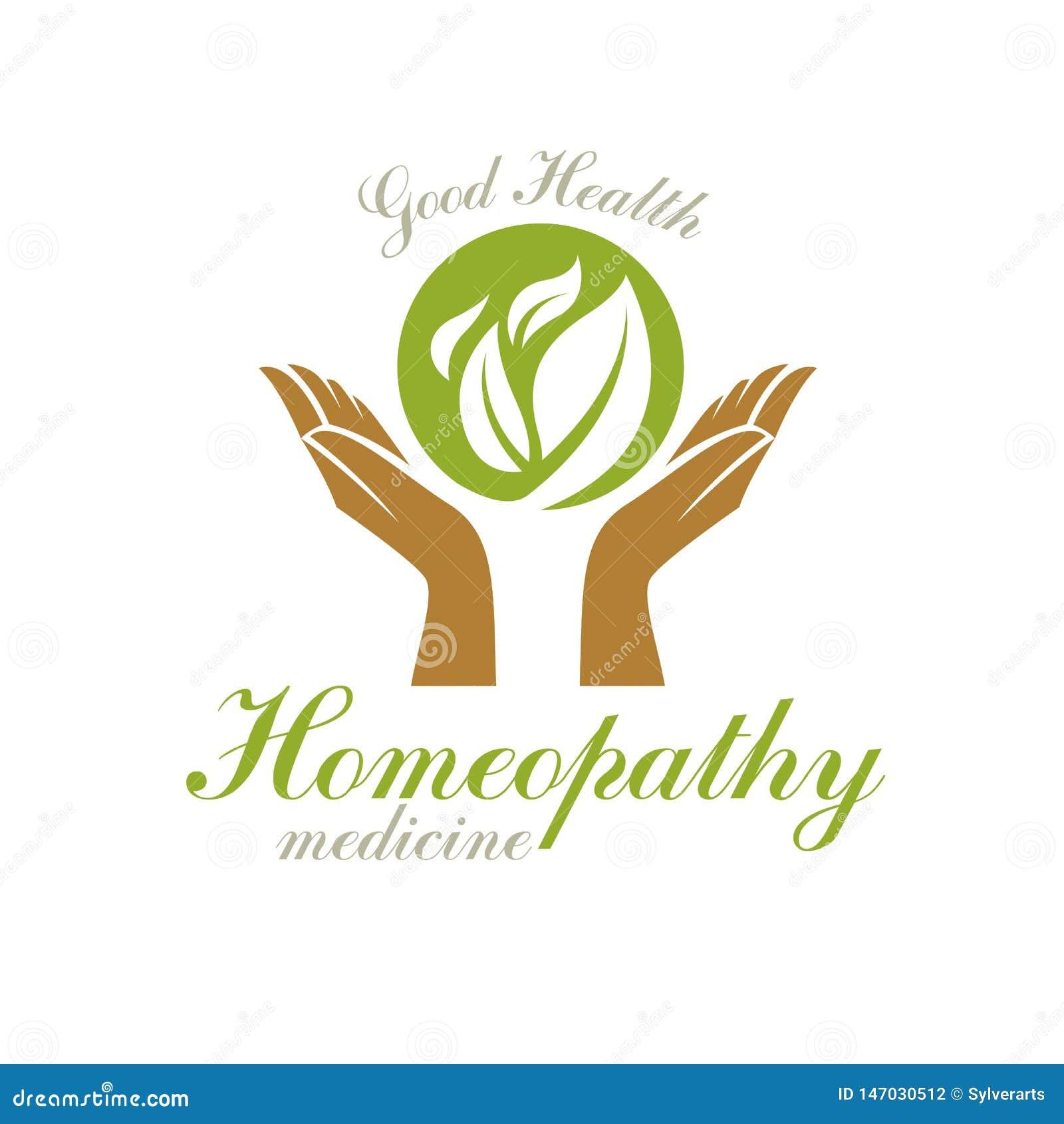 Manos que cuidan que sostienen las hojas verdes de la primavera Emblema moderno del extracto del centro de la salud para el uso e