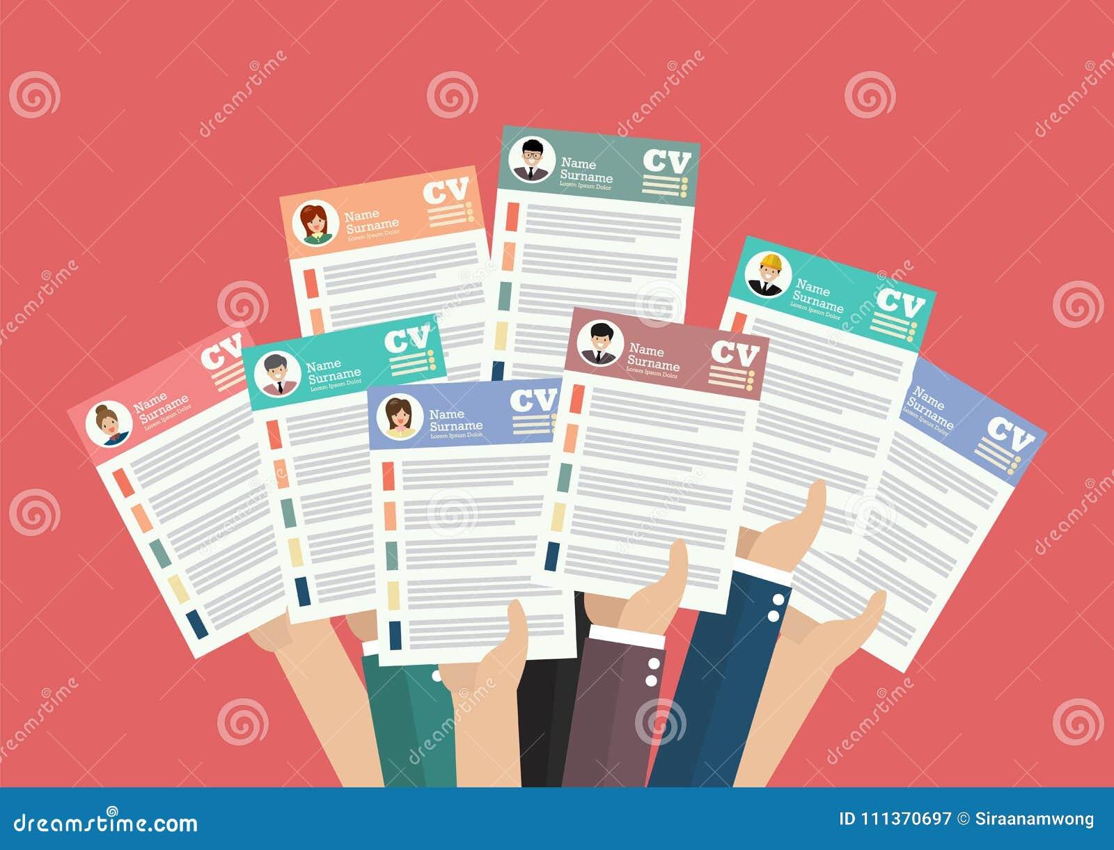Manos Que Llevan A Cabo Documentos Del Curriculum Vitae Del Cv ...