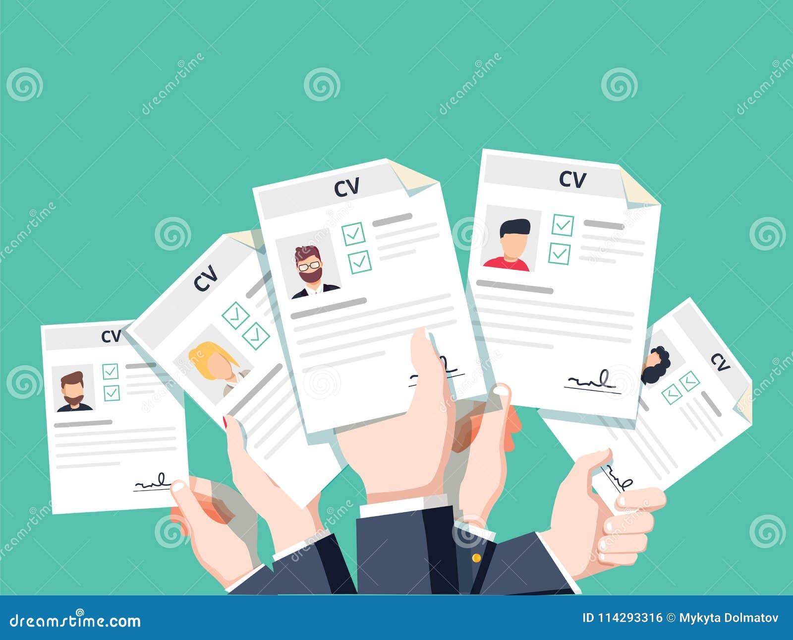 Manos Que Llevan A Cabo Documentos Del Curriculum Vitae Del Cv El ...