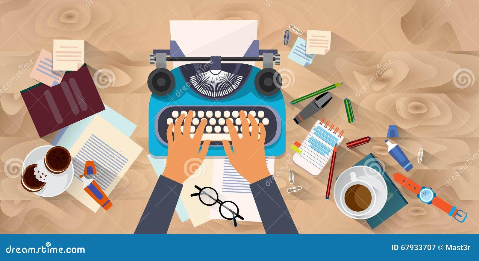 Manos que mecanografían a textura de Blog Typewrite Wooden autor del escritor del texto la opinión de ángulo de escritorio