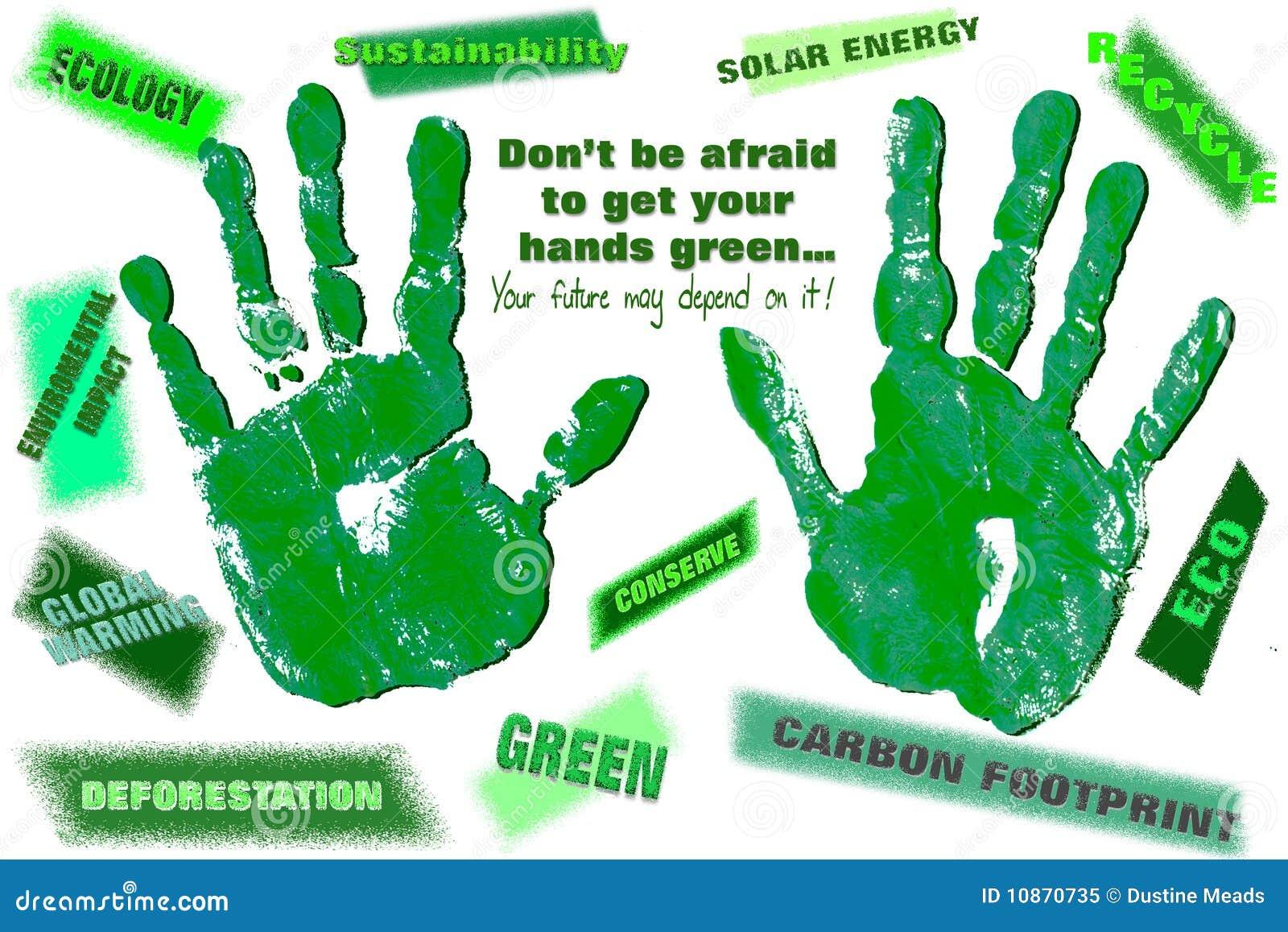 Manos verdes de Eco con un mensaje