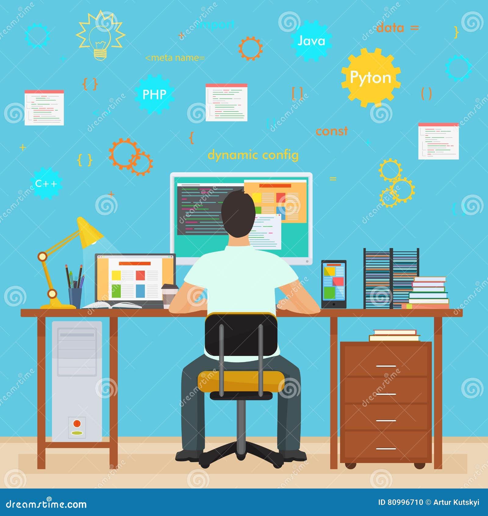 Manprogrammerarebaksida som arbetar på hans PCdator Programmera och kodifiera Inre programmerare för kontor med symboler