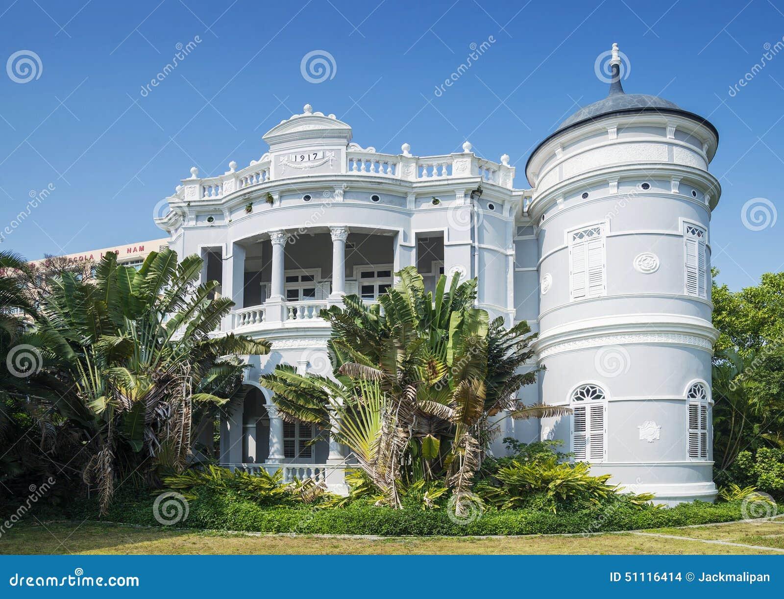 Mansão colonial portuguesa da arquitetura na porcelana de macau