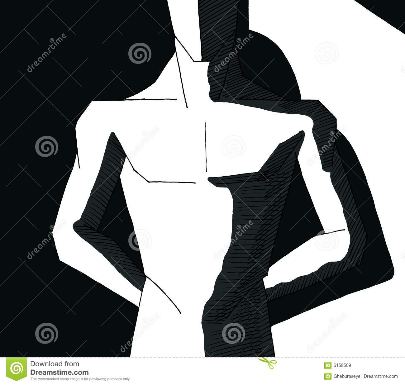 Muscular man in black and white with shadow stock image