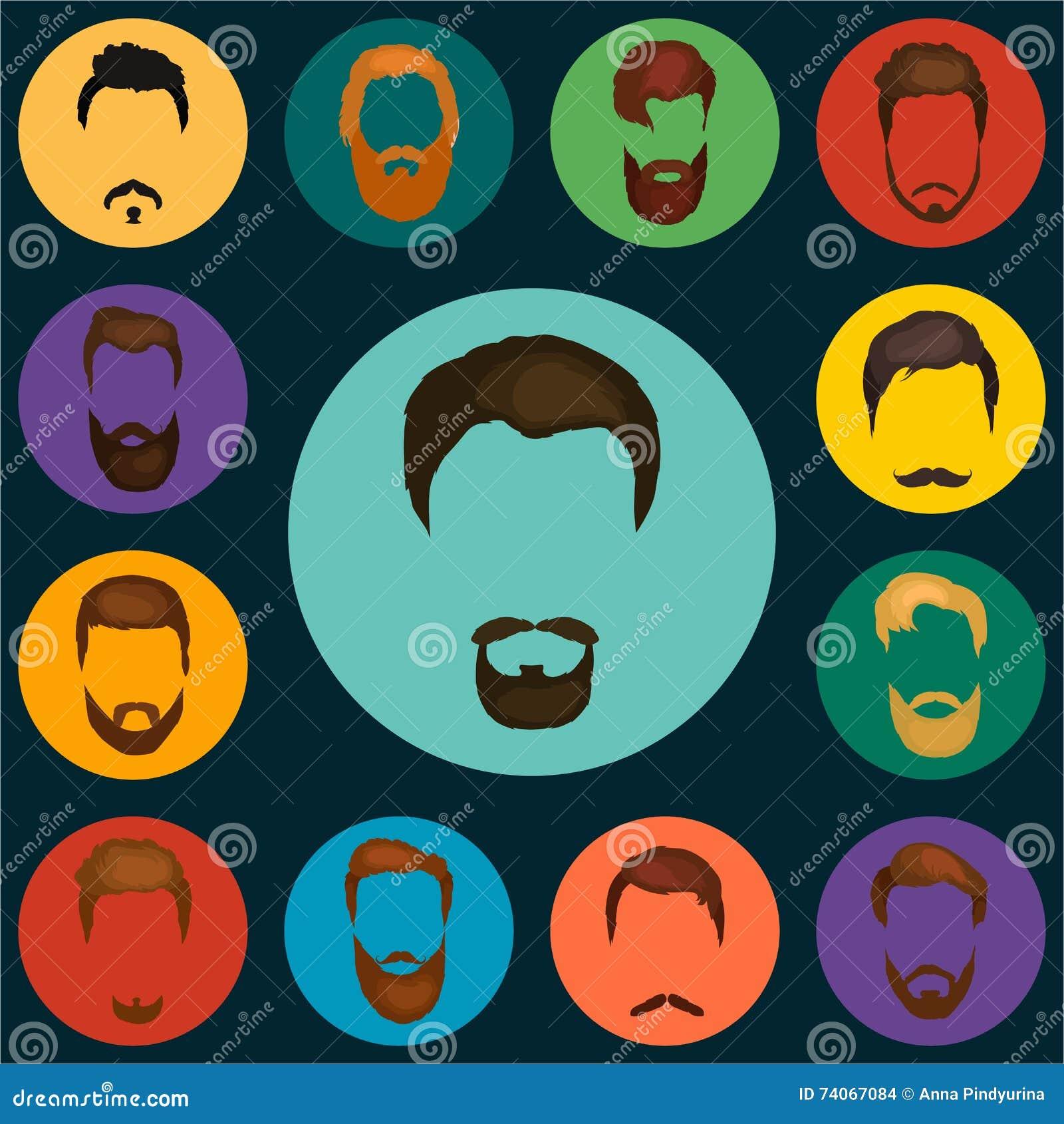 Mans håruppsättningen av skägg och mustaschvektorn Moderiktiga frisyrtyper för barberare shoppar mans skägg designen, frisyr