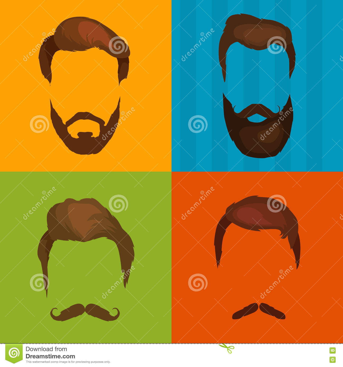 Hipster Hair And Beards Fashion Vector Illustration Set