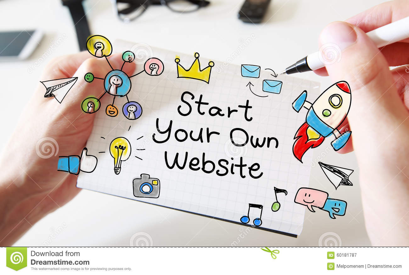 Mans hand drawing Start Your Own Website concept on notebook
