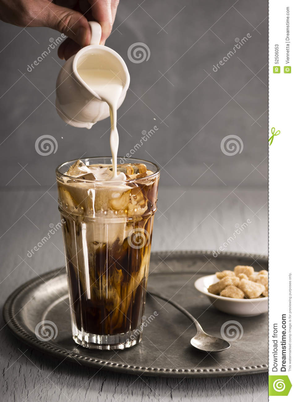 Mans Hand Pours Milk Into Glass Of Iced Coffee Stock Image ...
