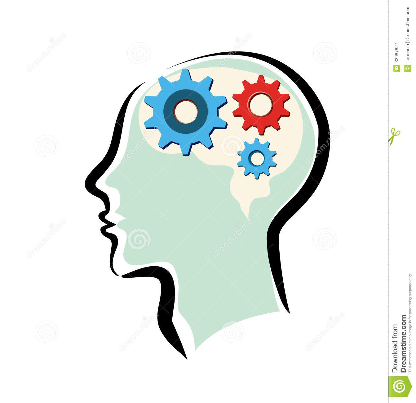 mans head with brain and thinking process stock vector Clip Art Brain with Gears Brian Gears