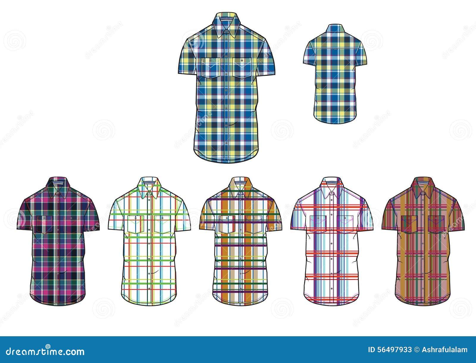Shirt design illustrator template - Mans Short Sleeve Various Check Shirt Clothing Design Template Stock Photos