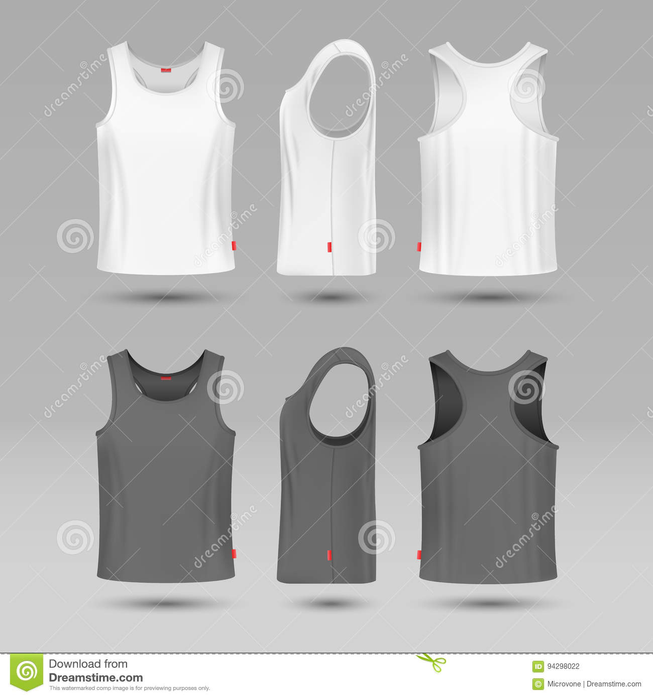 c791a770bceb9 Royalty-Free Vector. Mans white blank tank singlet. Male shirt without  sleeves vector template