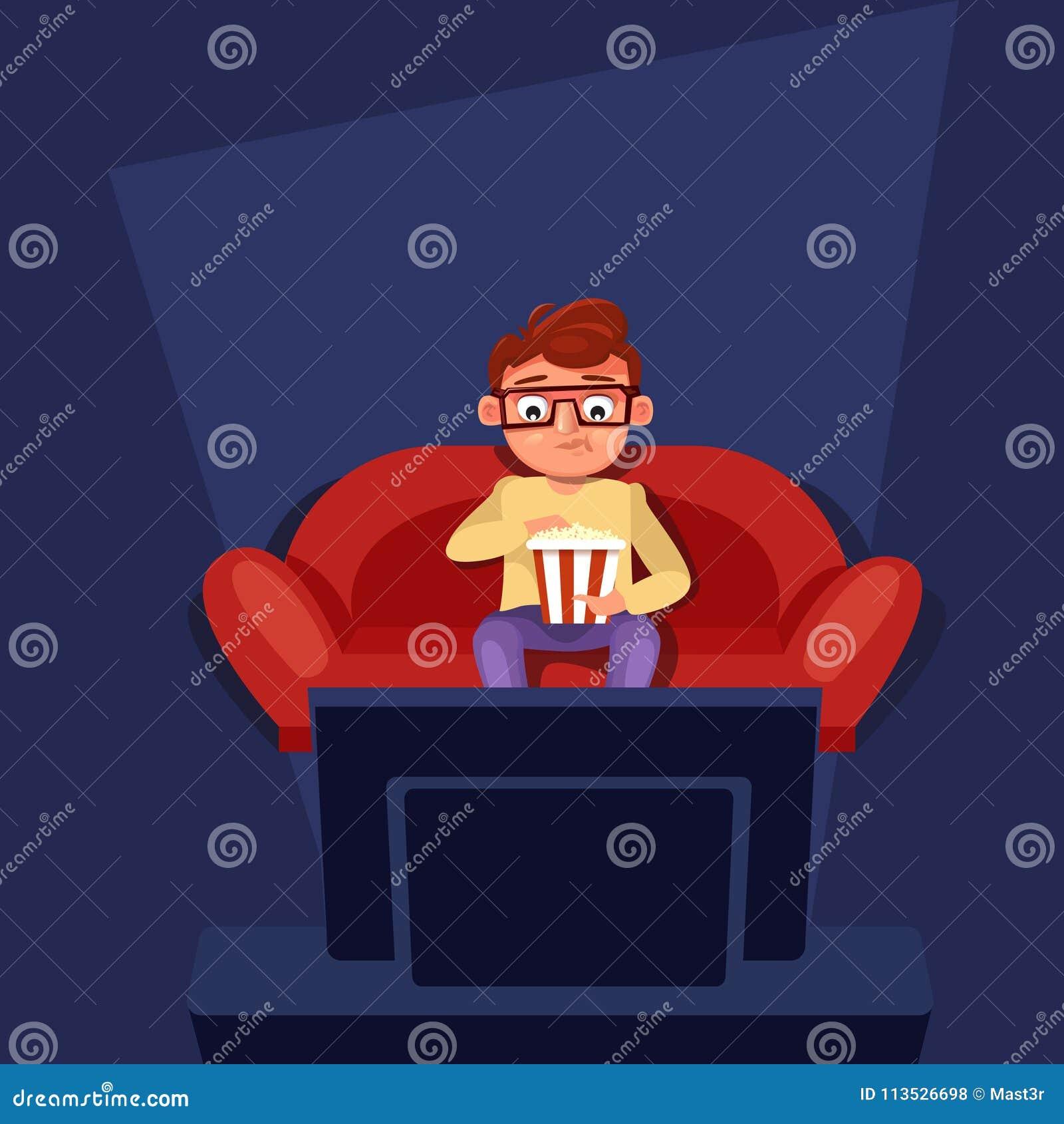 Mansammanträde på soffaklockatv som äter popcorn