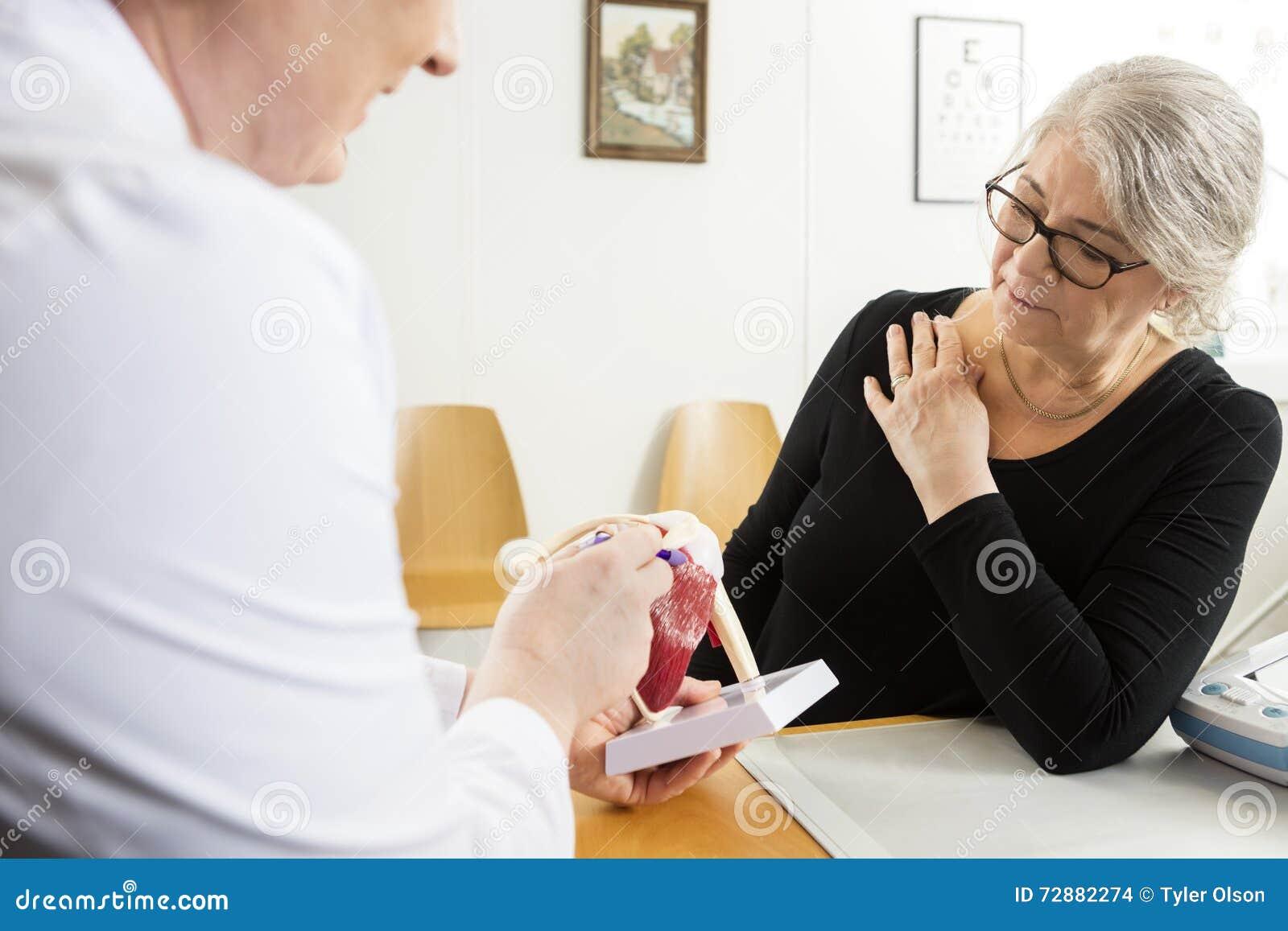 Manschettmodell To Senior Woman för doktor Explaining Shoulder Rotator
