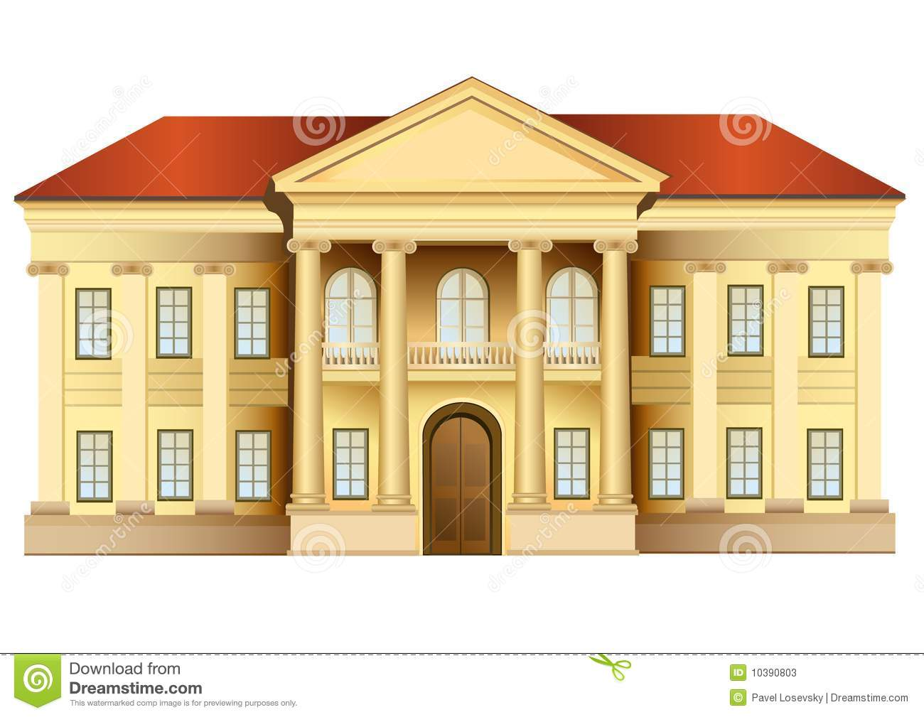 Red entrance door in front of residential house stock photo - Mansion With Columns Vector Stock Photos Image 10390803